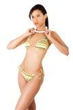 Portrait of dark skinned girl in bikini Stock Images
