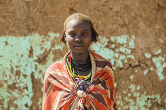 Portrait of Dassanech girl. Omorato, Ethiopia. Royalty Free Stock Photos
