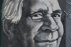 Portrait of David Unaipon closeup - Australian 50 dollar bill fr. Agment stock photos