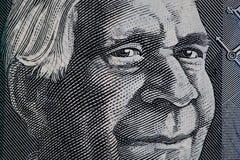 Portrait of David Unaipon closeup - Australian 50 dollar bill fr Stock Photos