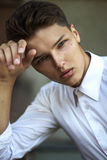 Portrait of Daydreaming Handsome Man Fashion Model in Reverie Stock Image