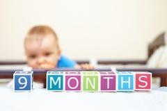 Portrait de bébé garçon dans le lit. Concept d'âge. Photographie stock libre de droits