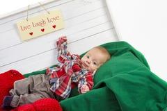 Portrait de bébé garçon de Noël Photographie stock