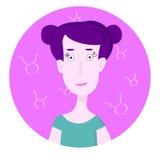 Portrait de bande dessinée de femme représentant Taurus Zodiac Sign illustration stock