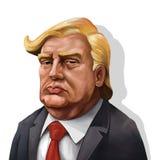 Portrait de bande dessinée de Donald Trump - illustré par Erkan Atay Images stock