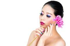 Portrait de beauté asiatique mélancolique de clou image stock