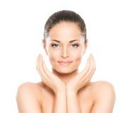 Portrait de beauté d'une jeune femme dans le maquillage Images stock