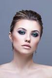 Portrait de beauté de fille sexy Beau composez, Smokey Photographie stock libre de droits