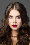 Portrait de beauté de jeune femme magnifique Photo stock