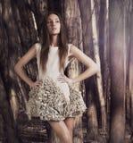 Portrait de beauté de jeune fille de brune, forêt Photographie stock libre de droits