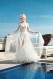 Portrait de beauté de jeune mariée portant dans la robe de mariage photos libres de droits