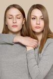 Portrait de beauté des soeurs de jumeaux Maquillage parfait de visage Photos stock