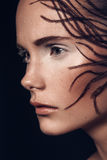 Portrait de beauté fille européenne de cheveux bruns très beaux d'une jeune, Image libre de droits