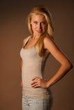 Portrait de beauté de femme blonde attirante Photographie stock