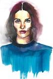 Portrait de belle dame dans un bleu Image libre de droits