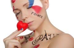 Portrait de belle femme au thème français Photographie stock libre de droits