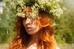Portrait de belle femme avec de longs cheveux sains extérieurs Résumé Image stock