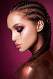 Portrait de belle femme avec des étincelles sur son visage Photographie stock