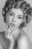 Portrait de belle femme avec le maquillage et Image libre de droits