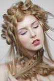Portrait de belle femme avec le maquillage et Photo libre de droits