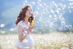 Portrait de belle femme enceinte dans les bulles de soufflement de champ photographie stock