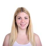 Portrait de belle femme heureuse sur le fond blanc Photos libres de droits