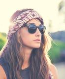 Portrait de belle fille de hippie photographie stock libre de droits
