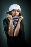 Portrait de belle fille heureuse avec des dreadlocks Images libres de droits
