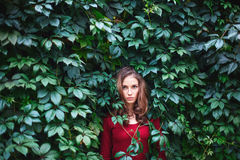 Portrait de belle jeune femme dans des feuilles sauvages Images stock