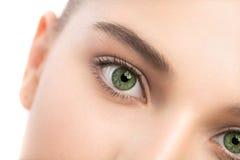 Portrait de belle jeune femme de brune avec le visage propre blanc d'isolement par balai Image stock