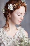 Portrait de belle jeune mariée rousse Elle fait rougir une peau pâle parfaite et sensible Image libre de droits