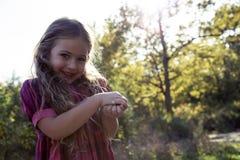 Portrait de belle petite fille en nature Photo stock