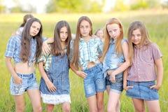 Portrait de belles amies joyeuses Photo stock