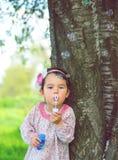 Portrait de belles bulles de savon de soufflement drôles de petite fille en parc photos libres de droits