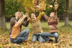 Belles feuilles d'automne de jet de famille Photo libre de droits