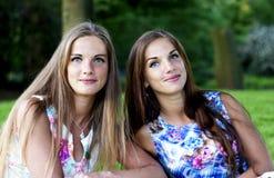 Portrait de belles soeurs jumelles images libres de droits