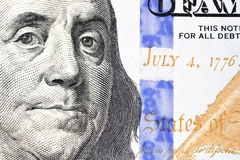 Portrait de Benjamin Franklin de cent billet d'un dollar Images libres de droits
