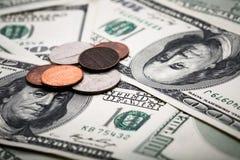 Portrait de Benjamin Franklin de cent dollars de billet de banque Image stock