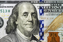 Portrait de Benjamin Franklin 100 dollars d'en gros plan Photos libres de droits