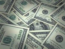 Portrait de Benjamin Franklin sur les cent billets d'un dollar encadrés Image libre de droits