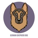 Portrait de berger allemand Dog Illustration de vecteur dans le style de illustration libre de droits