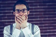 Portrait de bouche choquée de bâche d'homme Photos libres de droits