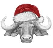 Portrait de Buffalo avec Santa Hat illustration de vecteur