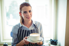 Portrait de café de offre de serveuse heureuse au café Images libres de droits