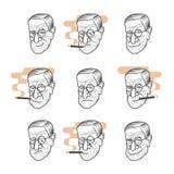 Portrait de caricature de bande dessinée de Sigmund Freud photo stock