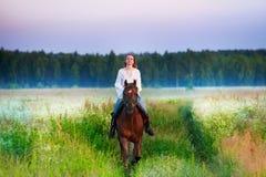 Portrait de cavalier de cheval femelle dans le domaine brumeux Photographie stock