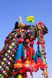 Portrait de chameau décoré au festival de désert, Jaisalmer, Inde photo libre de droits