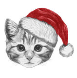 Portrait de chat avec Santa Hat Illustration de Vecteur
