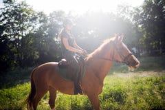 Portrait de cheval d'équitation de jeune femme dans la campagne Photo libre de droits