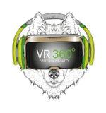 Portrait de chien de traîneau d'aspiration de main Chien en verres de réalité virtuelle Illustration de vecteur d'aspiration de m Photographie stock libre de droits